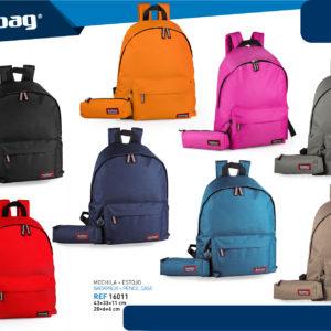 Zaino 2zip 43x33x13cm + Astuccio20x6cm Delbag 8 colori disponibili