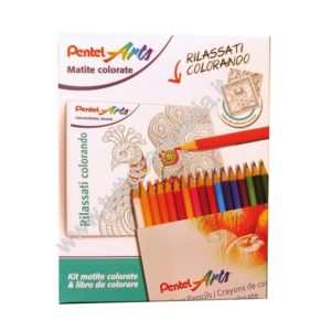 Kit matite colorate e libro Art Terapy - Pentel Arts